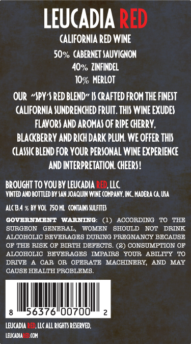 Leucadia Red The Spy's Red Blend California back
