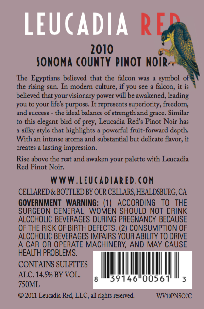 Leucadia Red 2010 Sonoma County Pinot Noir